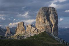 Stock Photo of Five towers in the evening light Cinque Torri climbing rocks Dolomites Alps