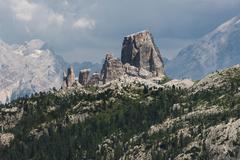 Stock Photo of Cinque Torri five towers climbing rocks Dolomites Alps Province of Belluno