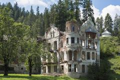 Ruins of San Candido Wildbad Innchen Sesto Dolomites nature park Alps South - stock photo
