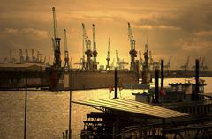 View from the jetties harbor Hamburg Germany Europe Stock Photos