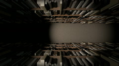 library bookshelf row with books dramatic view pan EDIT - stock footage