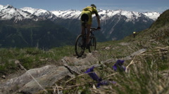 Mountainbike Race in the Mountains Stock Footage
