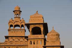 Arched towers in the morning light Mandir Palace Hotel Royal Palace Jaisalmer - stock photo