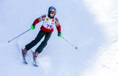 GERARDMER, FRANCE - FEB 19- Closeup on ski racer during the annual winter sch Stock Photos