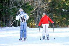 GERARDMER, FRANCE - FEB 19- Closeup on couple of Skiers during the annual win Stock Photos