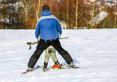 GERARDMER, FRANCE - FEB 17- Closeup on beginner skier during the annual winte Stock Photos