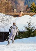 GERARDMER, FRANCE - FEB 16- Closeup on Skier during the annual winter school  Stock Photos