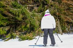 GERARDMER, FRANCE - FEB 17- Closeup on Skier during the annual winter school  Stock Photos