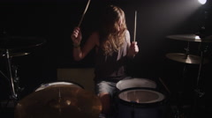 Drummer in heavy metal rock band, slow motion - stock footage