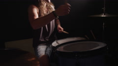 Heavy metal rock band drummer, slow motion - stock footage