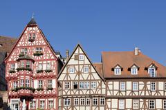 Stock Photo of Half timbered houses on the market square Miltenberg Lower Franconia Bavaria