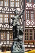 Justitia Fountain Gerechtigkeitsbrunnen or Fountain of Justice Romerberg Stock Photos