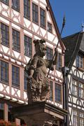 Minerva Fountain Romerberg square historic centre Frankfurt am Main Hesse Stock Photos