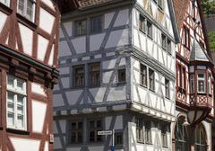 Halftimbered houses in the historic centre Klingenberg am Main Lower - stock photo