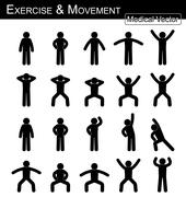 Exercise and Movement ( move step by step )( simple flat stick man vector ) ( - stock illustration