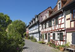Stock Photo of Half timbered houses at the moat historic centre Frankfurt Hochst Frankfurt