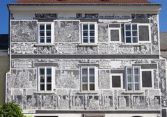 Sgraffito house Weitra Waldviertel Lower Austria Austria Europe Stock Photos