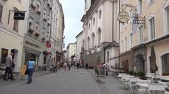 Salzburg city center and city life tilt shot Austria Stock Footage