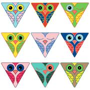 Nine funny owl faces in triangular forms - stock illustration