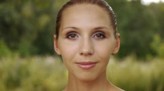 Portrait bare charming young women face powders Stock Footage