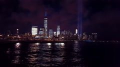 09-11-MEMORIAL NIGHT VIEW OF THE JERSEY CITY 4K Stock Footage