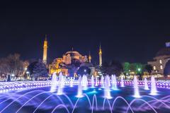 Hagia Sophia Ayasofya Sultanahmet Park fountain in Sultanahmet Istanbul - stock photo