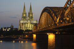 Cologne Cadral at dusk Philharmonie Hohenzollern Bridge Rhine Cologne North Stock Photos