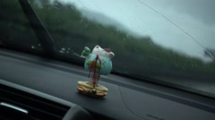 windscreen wiper,rainy day,Fortune Cat swing - stock footage