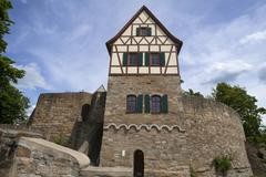 Former residential tower of a high medieval imperial castle rebuilt Burg Stock Photos