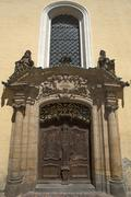 Entrance portal of the schooly church in the Rococo style Amberg Upper - stock photo