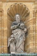 Holy sculpture in a niche at the baroque pilgrimage church of Maria Hilf Amberg - stock photo