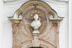 Marie bust on the west facade Marienmuenster 1720 Diessen Upper Bavaria Germany - stock photo