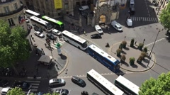 Bird view on the intersection of Opera in Paris with moving bus and cars Stock Footage