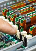 Memory module in system board, closeup Stock Photos