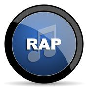 rap music blue circle glossy web icon on white background, round button for i - stock illustration