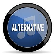 Alternative music blue circle glossy web icon on white background, round butt Stock Illustration