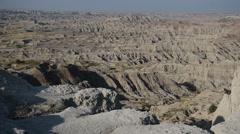 Remote and Harsh Landscape in Badlands National Park, South Dakota - stock footage