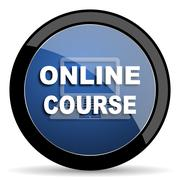 online course blue circle glossy web icon on white background, round button f - stock illustration