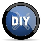 Diy blue circle glossy web icon on white background, round button for interne Stock Illustration