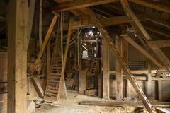 inside old mill - stock photo