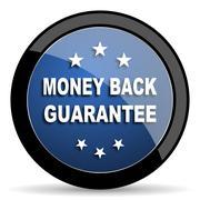 money back guarantee blue circle glossy web icon on white background, round b - stock illustration