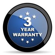warranty guarantee 3 year blue circle glossy web icon on white background, ro - stock illustration