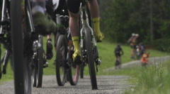 Mountainbike Race at Lake Stock Footage