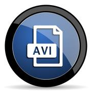 Avi file blue circle glossy web icon on white background, round button for in Stock Illustration