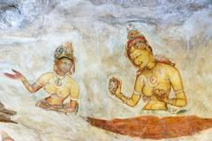 Sigiriya Wall Frescoes Sigiriya or Lion Rock Sri Lanka Asia - stock illustration