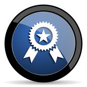 award blue circle glossy web icon on white background, round button for inter - stock illustration