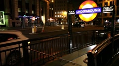London public subway underground sign Stock Footage