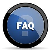 faq blue circle glossy web icon on white background, round button for interne - stock illustration