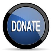 Donate blue circle glossy web icon on white background, round button for inte Stock Illustration