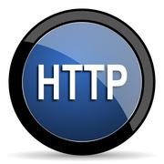 http blue circle glossy web icon on white background, round button for intern - stock illustration